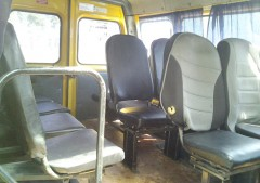 The cabin of the Gazelle minibus with 12 seats