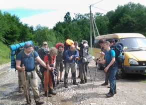 Meeting the tourists after a hike in the mountains of the North Caucasus for transfers, transportation to the station, to the airport of Krasnodar (Russia)