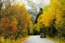 Дорога в Домбай осенью